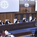 International Court of Justice judges listen to arguments from Pakistani and Indian attorneys at the Jhadev hearing. (Photo via video stream)