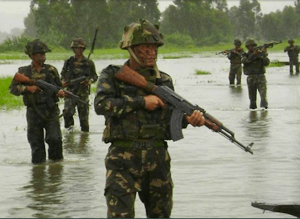 Indian army soldiers during a military exercise.