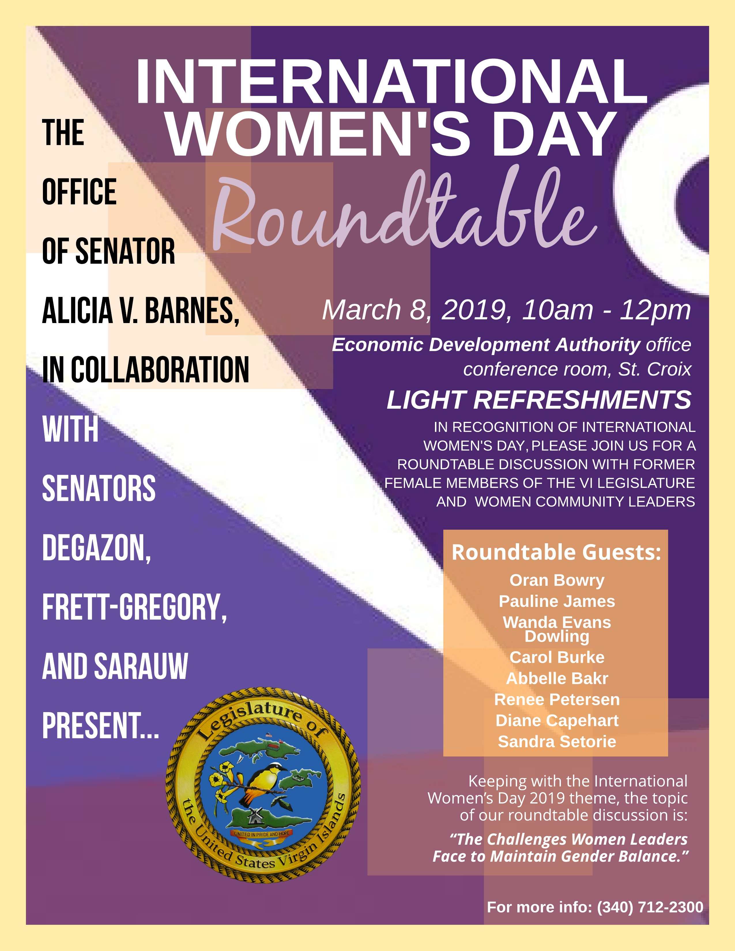 Four Senators To Host Roundtable Discussion About Women's