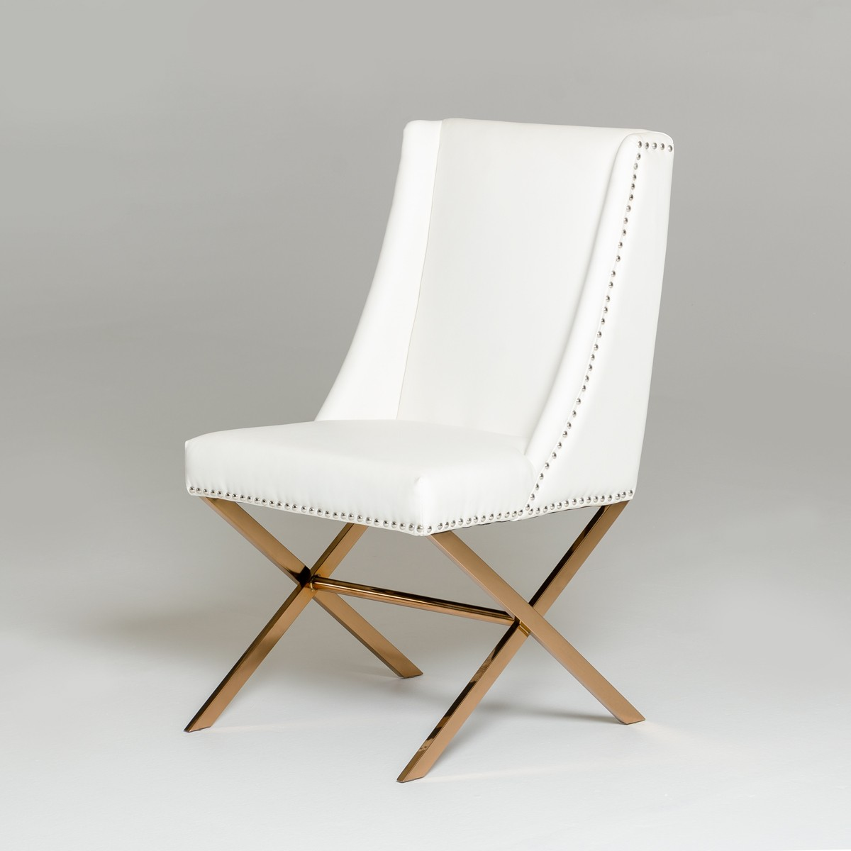 White Modern Dining Chairs Modrest Alexia Modern White And Rosegold Dining Chair
