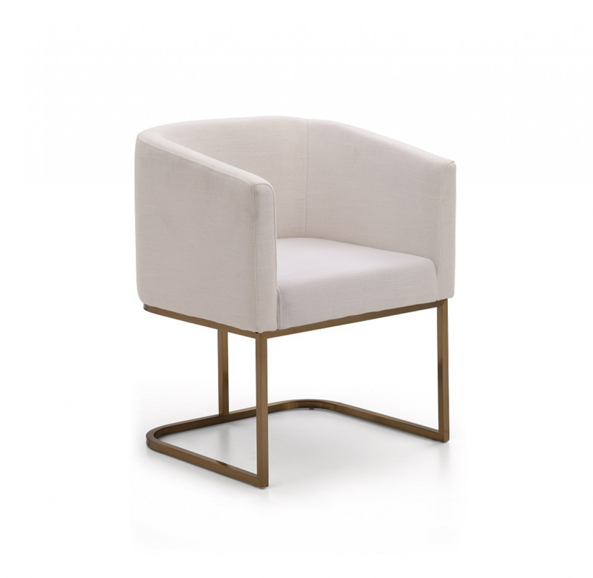 Modern White Dining Chair Modrest Yukon Modern White Fabric And Antique Brass Dining