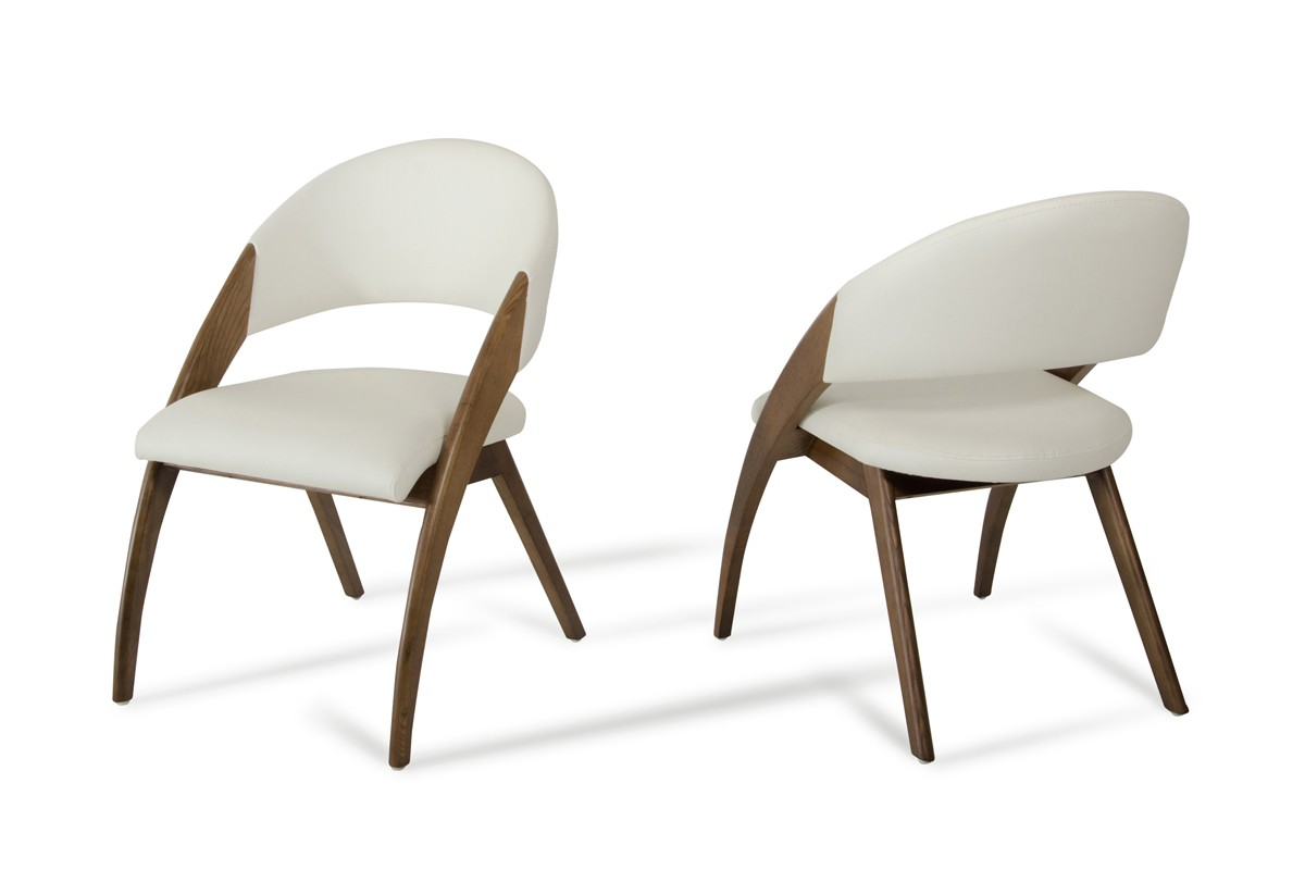 Contemporary Dining Chairs Modrest Lucas Modern Cream And Walnut Dining Chair Dining