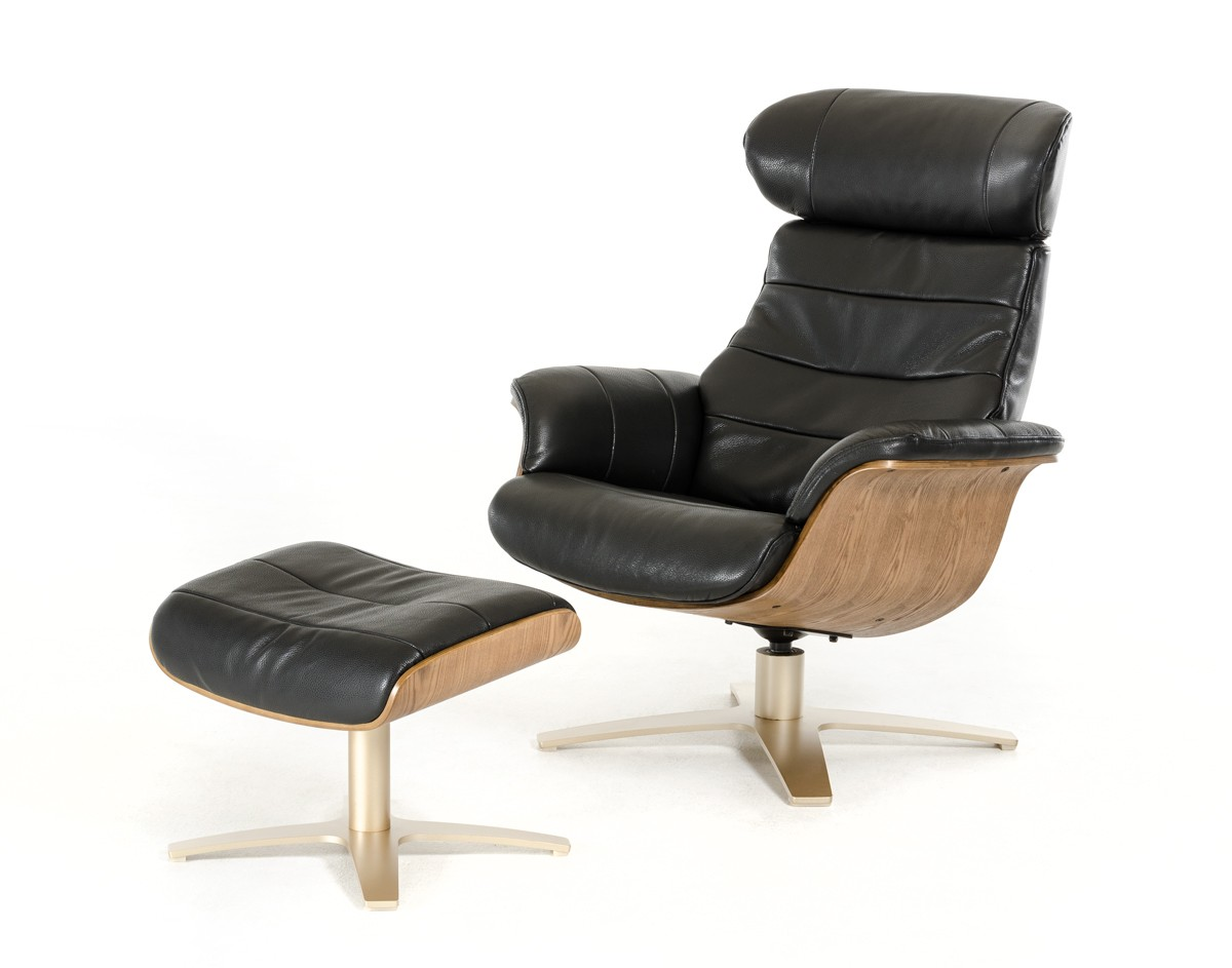 Modern Recliner Chairs Divani Casa Charles Modern Black Leather Reclining Chair W