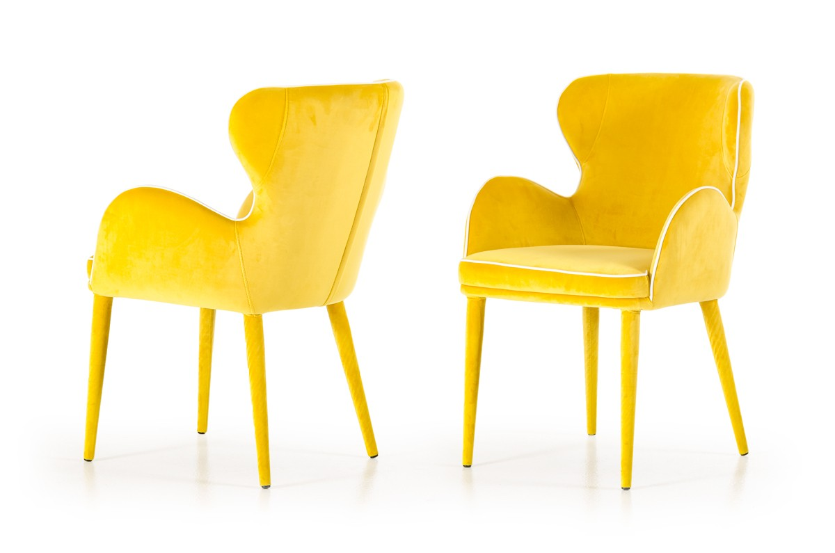 Yellow Chairs Modrest Tigard Modern Yellow Fabric Dining Chair