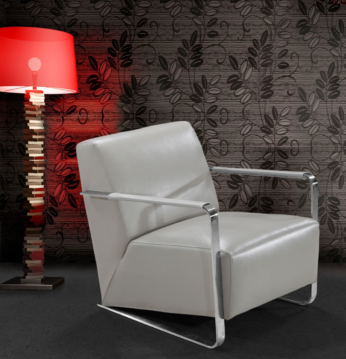 Grey Leather Club Chair Divani Casa Bison Modern Grey Leather Lounge Chair