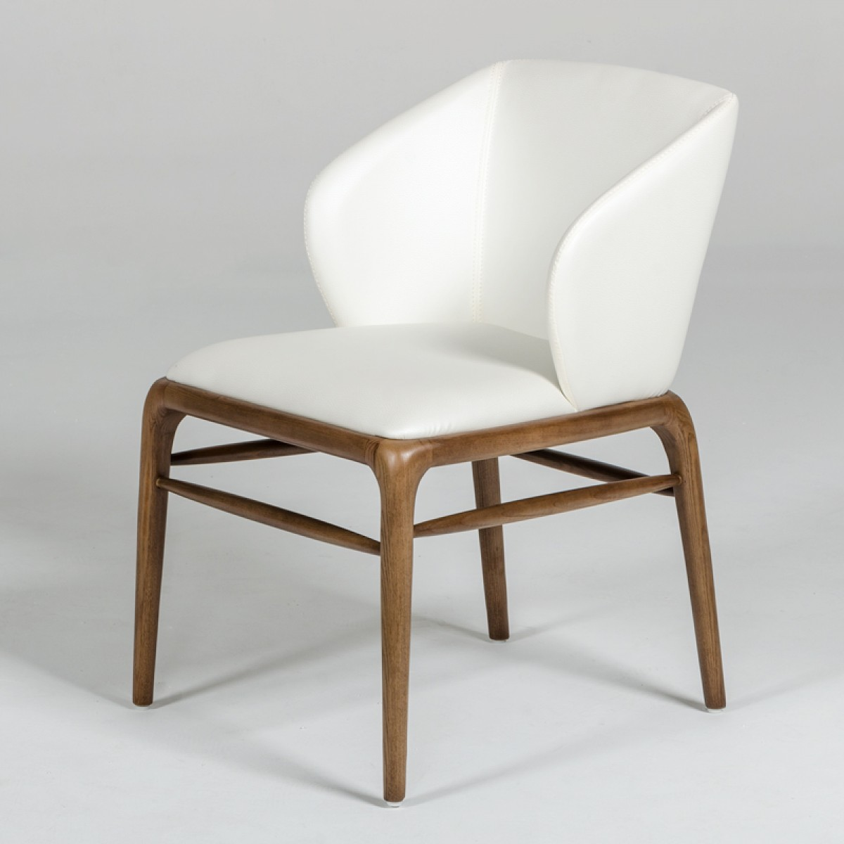 Cream Chairs Modrest Kipling Modern Cream And Walnut Dining Chair