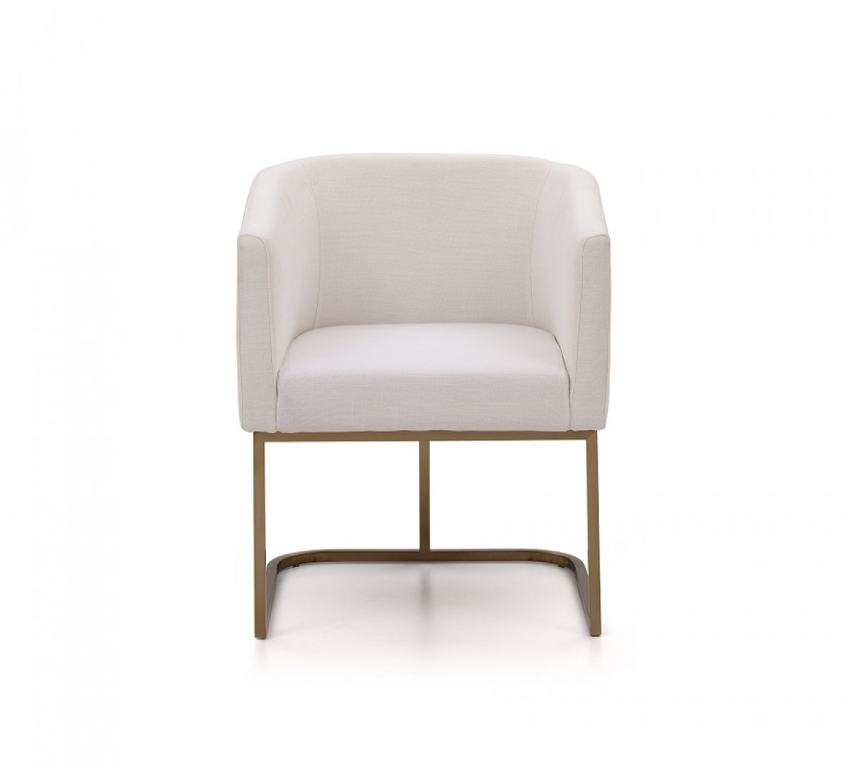 Dining Chair Fabric Modrest Yukon Modern White Fabric And Antique Brass Dining