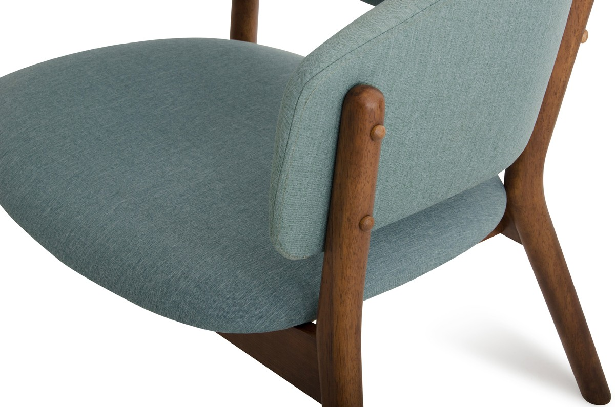 Dante Chair Dante Modern Blue Fabric And Walnut Accent Chair Set Of 2