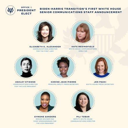 Biden anuncia un equipo de comunicación para la Casa Blanca formado solo por mujeres