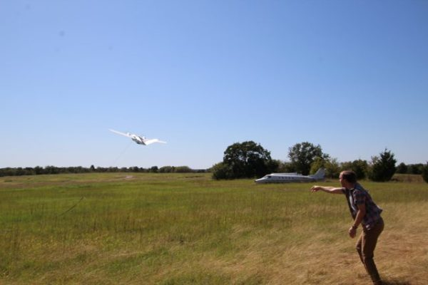 OSU launching the unmanned aircraft via bungee at the OSU's Center for Forensics Explosives range near Pawnee, Oklahoma