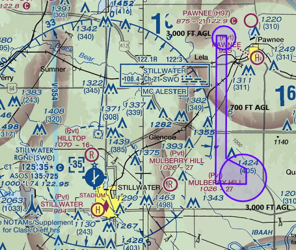 OSU's flight corridor designated in the FAA COA allowing for operations beyond the visual line-of-sight of the remote pilot.