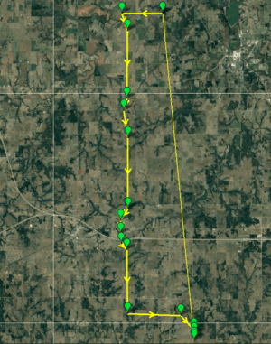 OSU flight path covering 18-miles in OSU BVLOS corridor monitored by FlightHorizon 2.0