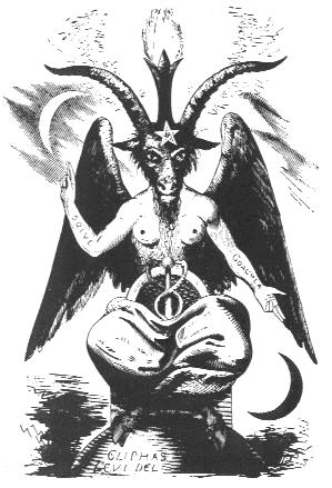 """Esta representación de Baphomet por Eliphas Levi de su libro Dogmes et Rituels de la Haute Magie (dogmas y rituales de alta magia) se convirtió en la representación visual """"oficial"""" de Baphomet."""