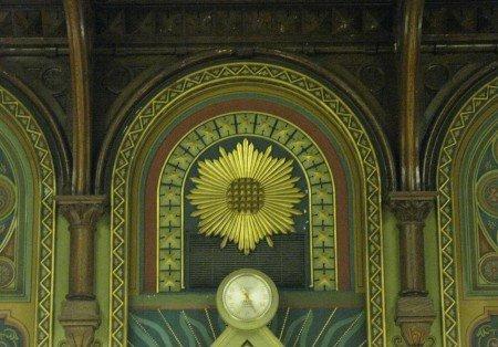 The Blazing Star shining upon members of a Masonic lodge