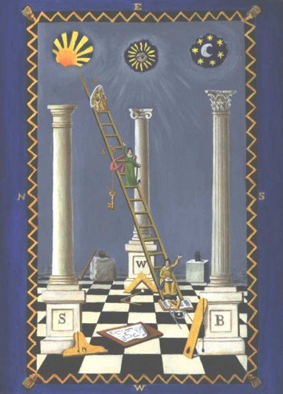 "A Masonic tracing board depicting the sun above the left pillar (representing the masculine), the moon above the right pillar (representing feminine) and Sirius above the middle pillar, representing the ""perfected man"" or Horus, the son of Isis and Osiris. Notice the ""Eye of Horus"" on Sirius."