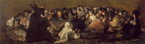 """Goya 1821 pintura """"Gran Macho Cabrío"""" o """"Las brujas de reposo"""".  La pintura representa a un aquelarre de brujas se reunieron alrededor de Satanás, representado como un medio-hombre, figura mitad cabra."""
