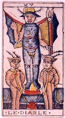 La tarjeta de Diablo del Tarot de Marsella (siglo 15).  Representación de esta carta del diablo, con sus alas, cuernos, los pechos y muestra de la mano es, sin duda, una gran influencia en la pintura de Levi de Baphomet.