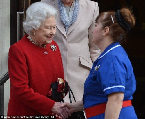 Handshake with the Queen. A privilege not allowed to commoners.