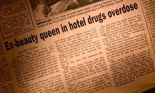 Bill discovers in the newspaper that Amanda was found dead in a hotel room due to an overdose. The way in which this ritualistic murder is diguised as an overdose is highly similar to the many celebrity ritual deaths disguised as overdoses described on this website.