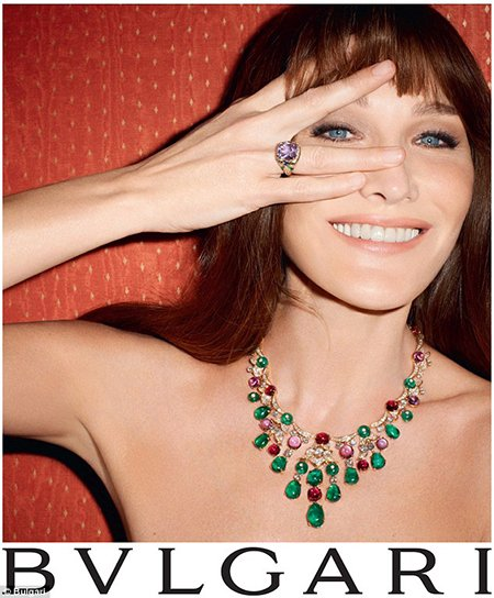 A Bulgari ad featuring the ex-first lady of France Carla Bruni-Sarkozy. Mixing entertainment with high power produces Illuminati results.