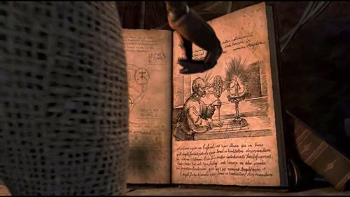 """This page from the book """"Annuls of Peracelsus"""" found in the movie appears to be inspired by the above engraving."""