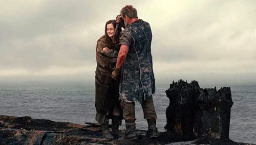 In yet another scene that was never in Bible, Noah holds a knife to his own grand-daughter in order to kill her.