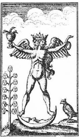 """""""Le symbole reproduit ci-dessus est d'une édition rare du Turbæ Philosophorum publié en Allemagne en 1750, et représente par une figure hermaphrodite la réalisation de l'opus magnum. Les principes actifs et passifs de la nature étaient souvent représentés par des hommes et des figures féminines, et quand ces deux principes, étaient harmonieusement conjoint dans l'une quelconque nature ou corps, il était de coutume pour symboliser cet état d'équilibre parfait par la figure ci-dessus montre composite """". (Manly P. Hall, Les enseignements secrets de tous âges)."""