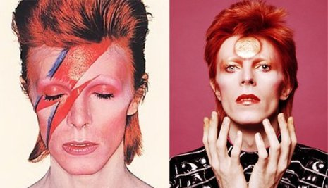 The two forms of Ziggy Stardust. One emphasizes the one-eye sign, the other features a circle on the pineal gland, aka the third eye.