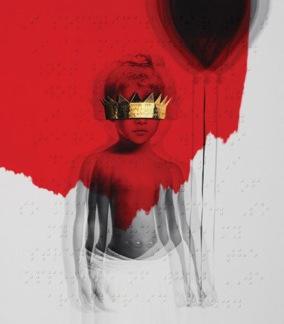 The ANTi album cover features a picture of Rihanna a little girl (reportedly from her first day at daycare), holding a balloon and blinded by a large crown.