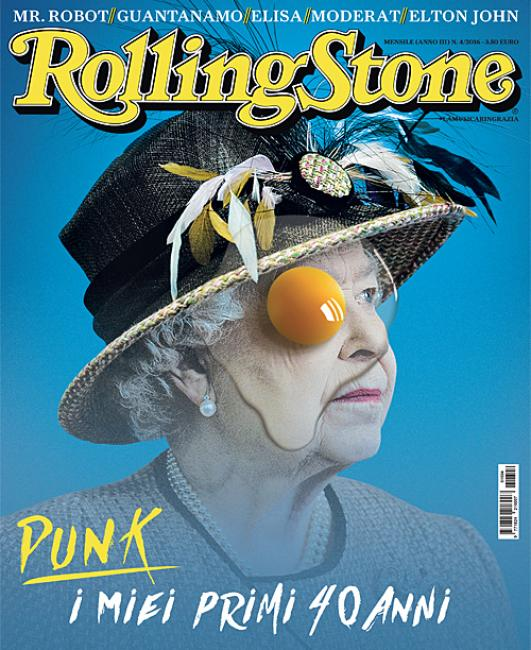"Queen Elizabeth II on the cover of Rolling Stone magazine with an egg yolk covering one eye. Is this ""punk""? Or a mainstream magazine telling you what the Queen is truly about?"