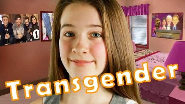 A child with the word 'Transgender' stamped across the screen: Mass media's completely insane agenda a gender blurring.