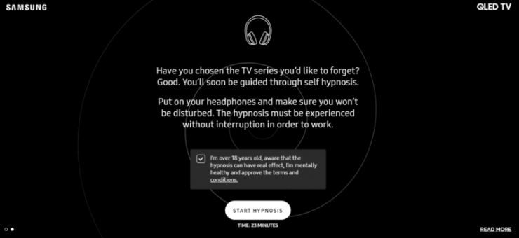 "Samsung Launches a Site That Can ""Erase Your Memory"" With Hypnosis"