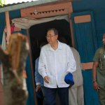 Ban Ki-moon durante su visita a Haití
