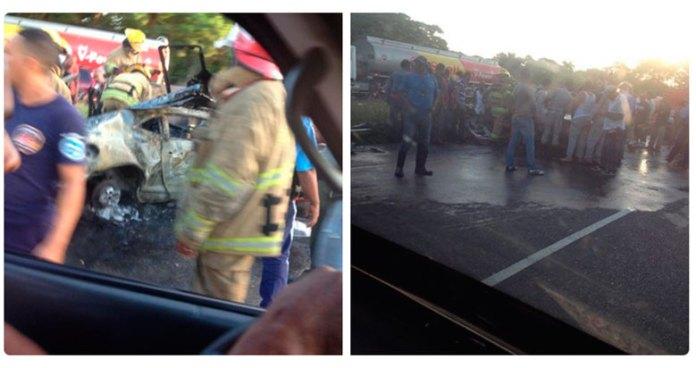 Bomberos y curiosos en la escena del accidente. (Fotos: NoticiaLibre)