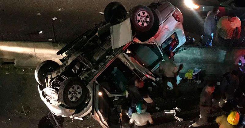 Jeepeta cae en desnivel de la 27 de Febrero y deja 4 heridos