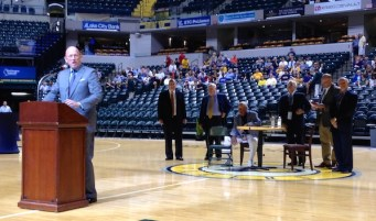 Mark Boyle proudly introducing his radio partner, Slick Leonard at an event honoring the Hall of Famer.