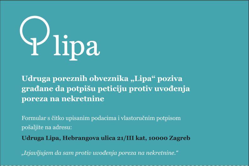 """Porez na nekretnine – poziv na peticiju Udruge """"Lipa"""""""