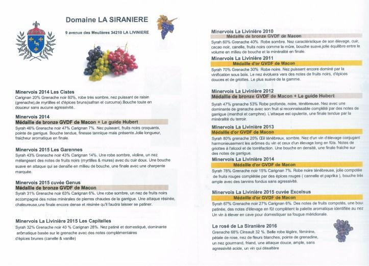 Cuvées 2015 La Siranière
