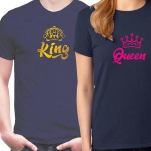 King Queen Crown Couple Tshirt