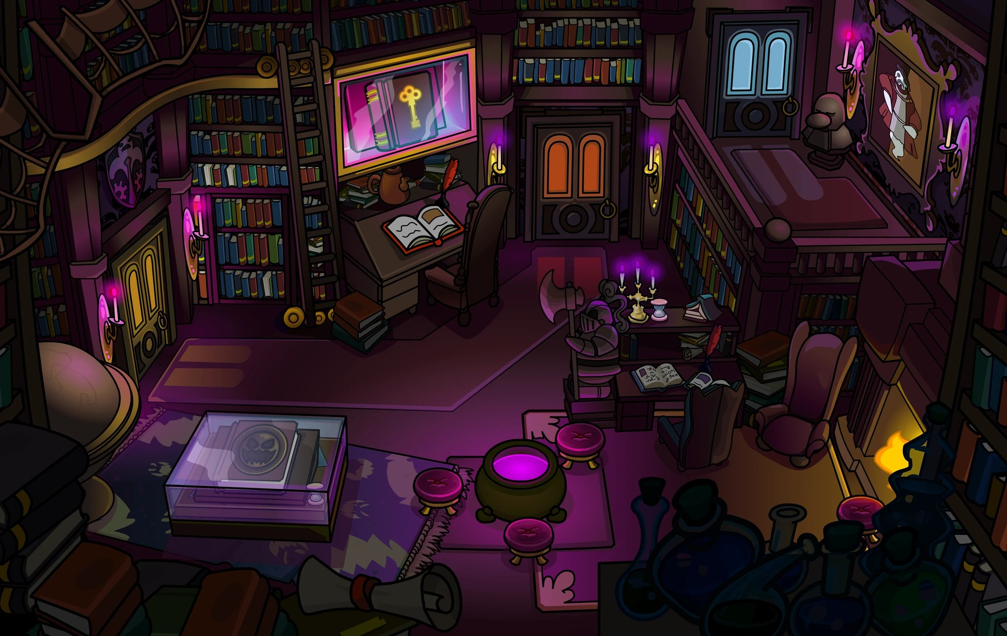 Library Haunted Mansion Club Penguin Wiki Fandom