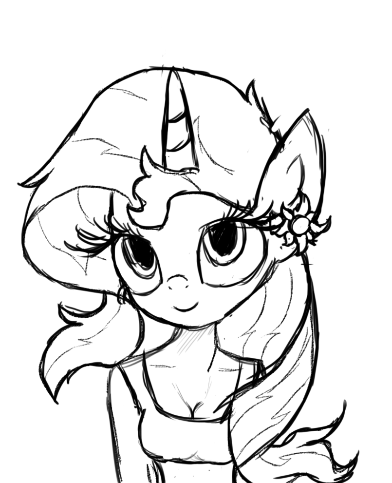 Image Fanmade Antro Sunset Shimmer Sketch My Little Pony
