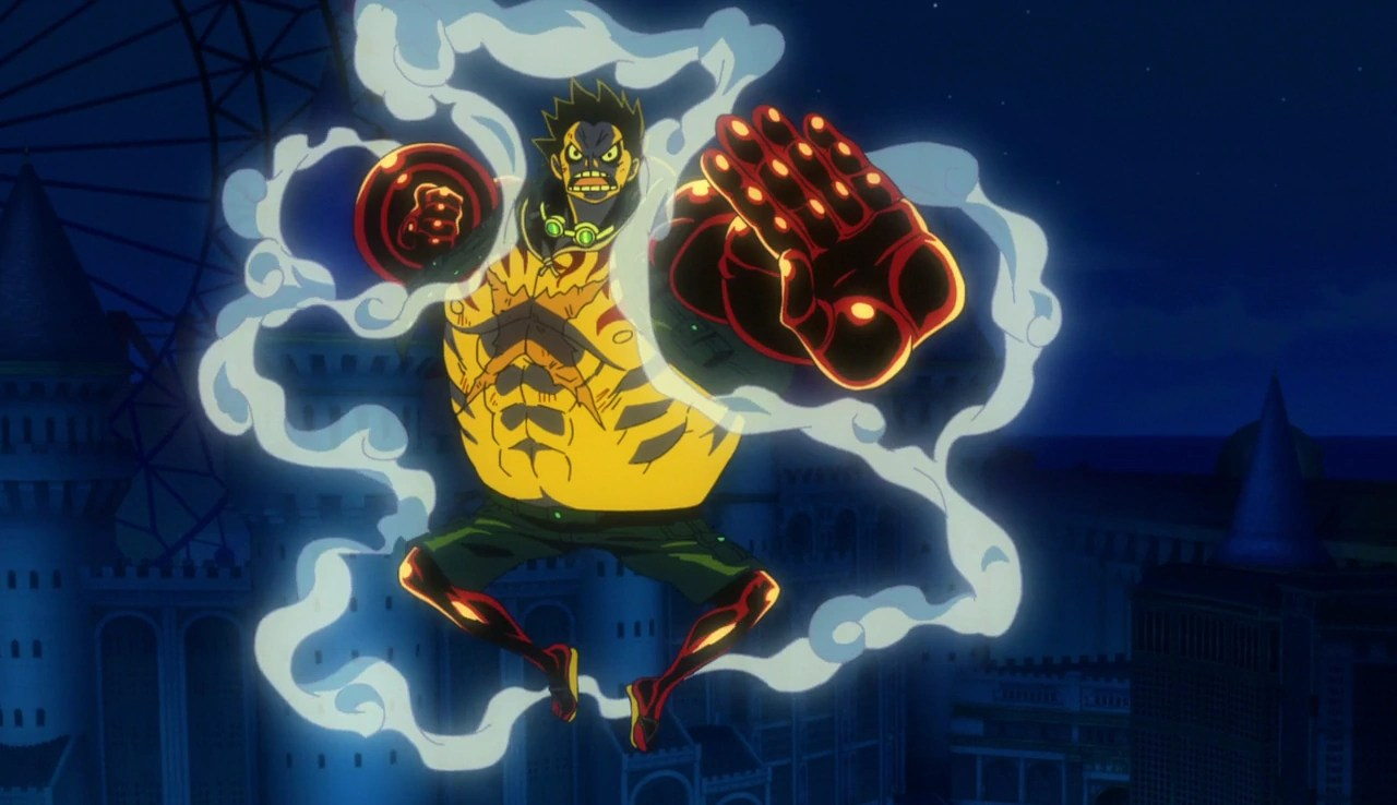 The gladiators begin moving toward the king's plateau, as roronoa zoro reveals to kanjuro and kin'emon that he is going to try to stop the birdcage. Image - Film Gold Gear 4th Luffy.png | One Piece Wiki ...