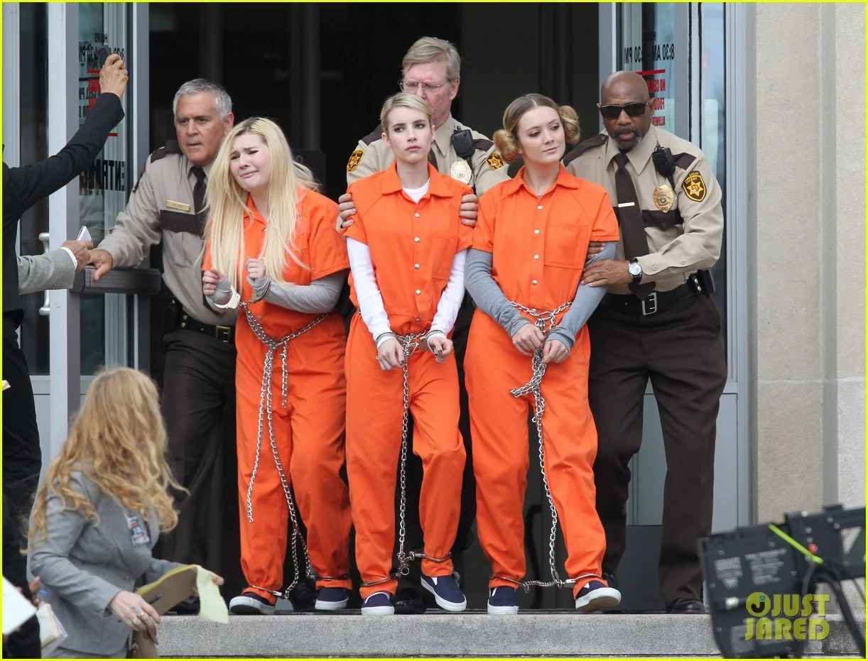 Scream-queens-arrest-orange-suits-lea-michele-eye