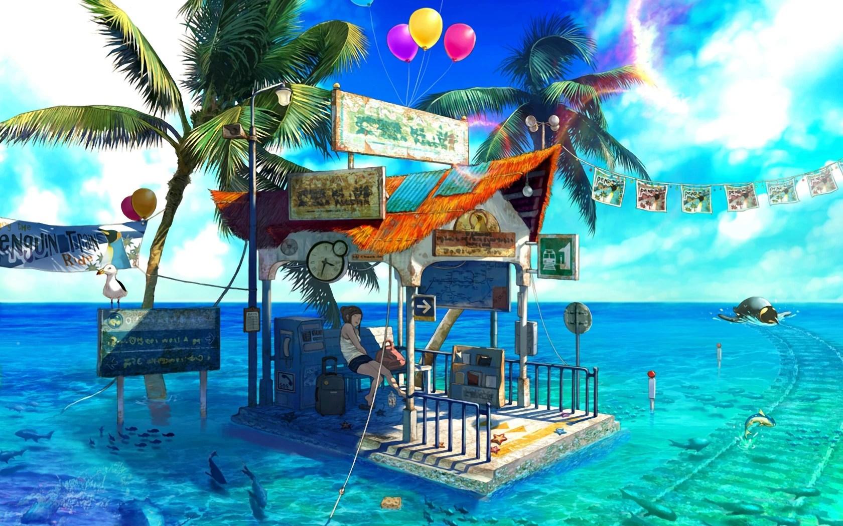 Image - Nature-anime-tropical-island-bus-stop-ocean-677071 ...