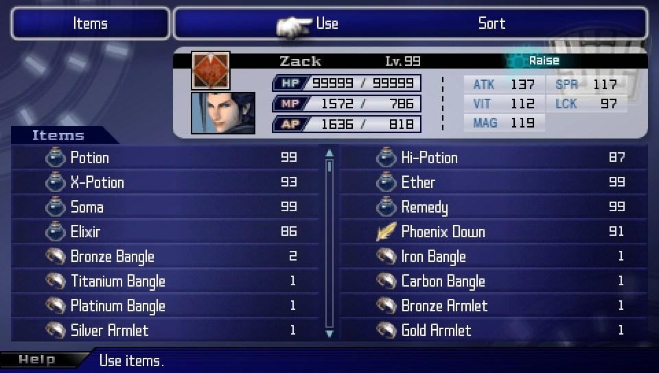 List Of Crisis Core Final Fantasy VII Items Final