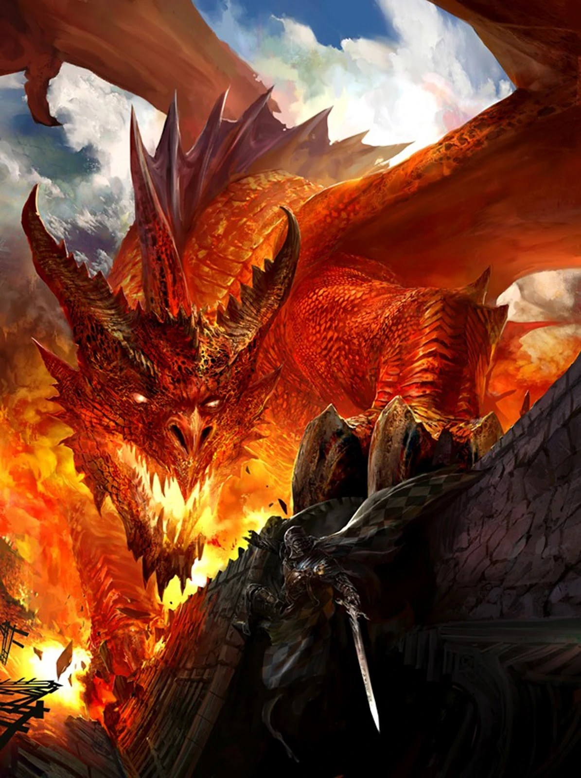 Red Dragons Breathing Fire