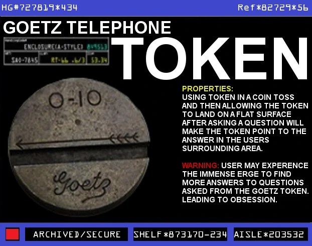 Goetz Open Feather 010 Telephone Token  Warehouse 13