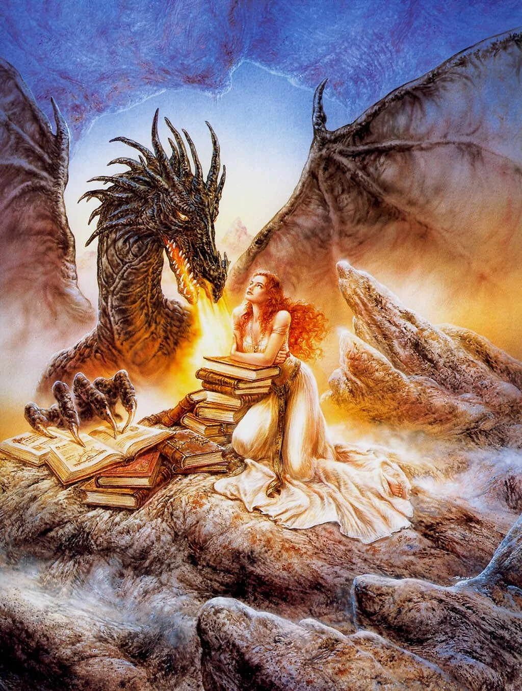 Luis Royo Fantasy Dragon And Girl With Warriors Of Myth Wiki Fandom