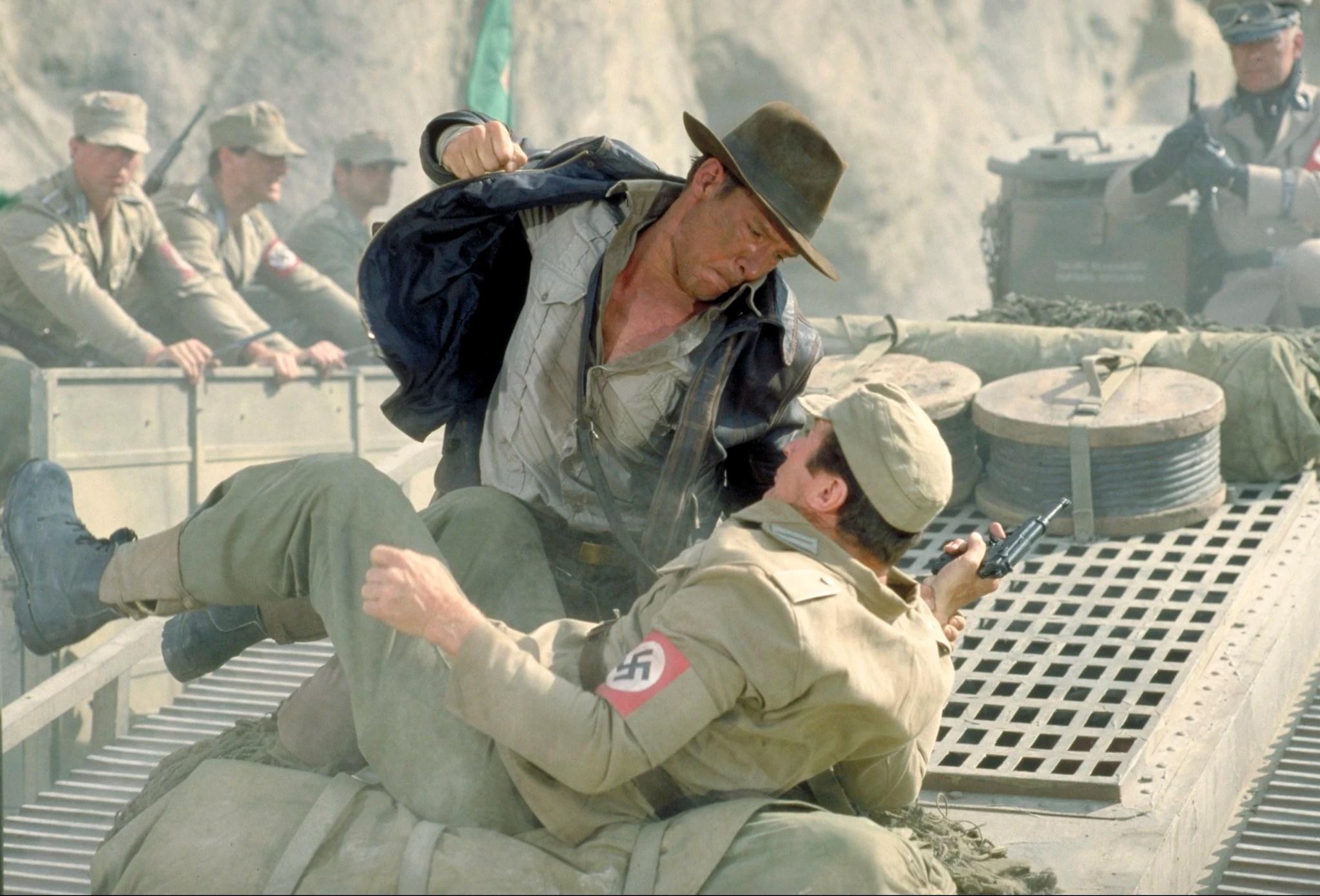Indiana Jones fistfight on speeding tank