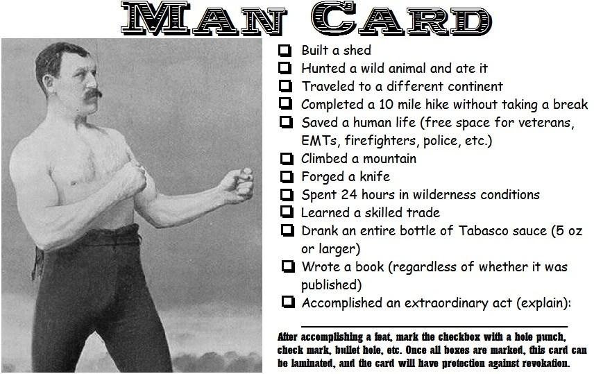 Man Card Manly Wiki FANDOM Powered By Wikia